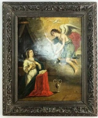 18 Century Antique Panting Copper And Oil