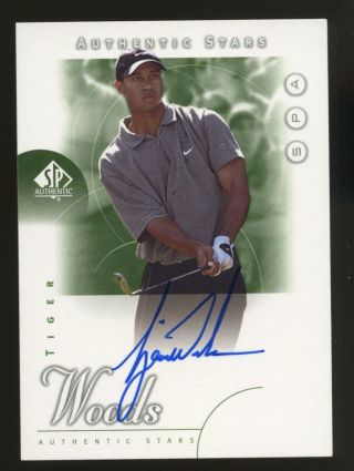 2001 Sp Authentic Golf Tiger Woods Rc Rookie Auto /900 Missing Serial 1/1 Rare