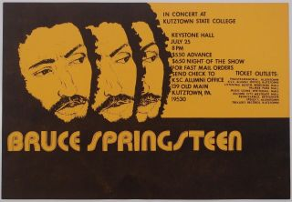 Bruce Springsteen Concert Poster Kutztown State College 1975 Rare