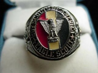 Vintage Large Chunky Size 10 Eagle Scout Boy Scouts Of America Enamel Ring Bsa