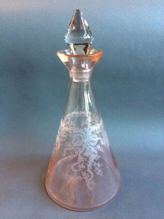 Fostoria June Pink Rose Decanter Very Rare