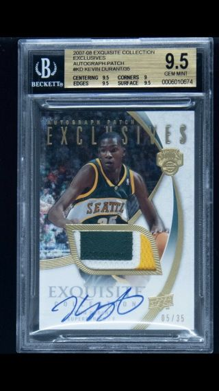 2007 - 08 Ud Exquisite Exclusives Kevin Durant Rpa Rc Patch Auto /35 Bgs 9.  5 Rare