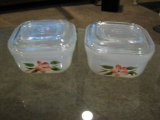Fireking Oven Ware Refrigerator Bowls 2 With Lids Peach Blossom Made In Usa