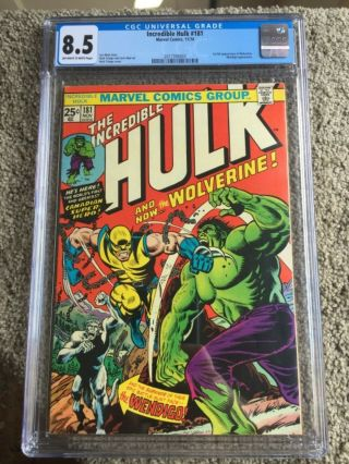 Rare 1974 Bronze Age Incredible Hulk 181 Cgc 8.  5 Universal Key 1st Wolverine