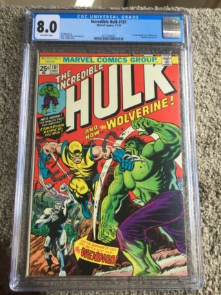 Rare 1974 Bronze Age Incredible Hulk 181 Cgc 8.  0 Universal Key 1st Wolverine