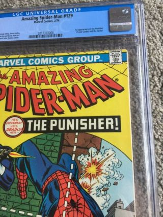 RARE 1974 BRONZE AGE SPIDER - MAN 129 CGC 9.  8 UNIVERSAL KEY 1ST PUNISHER 3
