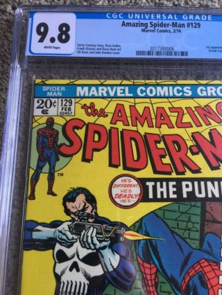RARE 1974 BRONZE AGE SPIDER - MAN 129 CGC 9.  8 UNIVERSAL KEY 1ST PUNISHER 4