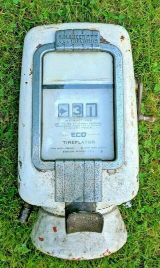 Vintage Old Air Station,  Eco Air Meter Tire Pump Wall Mount (ship Anywhere)