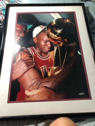 Michael Jordan Uda Upper Deck Signed Autograph 16x20 Framed Trophy Photo Rare