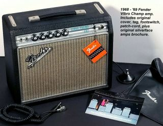 Vintage 1968 Fender Vibro Champ Amp,  Silverface,  Near,  All Orig,  W/ Tags