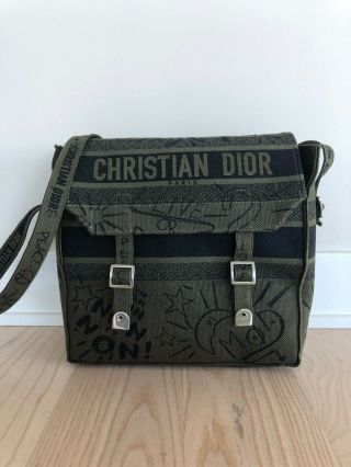 Rare Christian Dior Diorcamp Oblique Book Tote Messenger Bag Saddle Bag Diorama