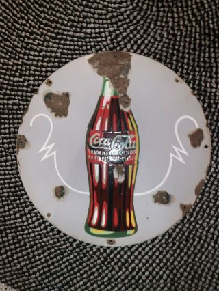 "Vintage Rare Christmas Coca Cola Coke Porcelain Advertising 18 "" Sign 1923"
