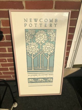"""Vintage Rare Newcomb College Pottery Poster 1980s Approx 33 1/4"""" X 18"""""""
