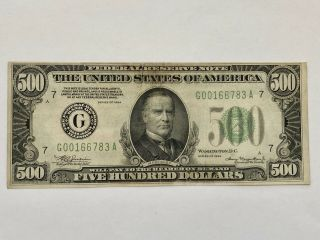 1934 Federal Reserve Note $500 Dollar Bill Chicago G00166783a - Rare