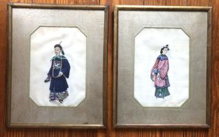2 Fine Antique Chinese 19th Century Pith Rice Paper Paintings Framed