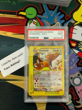 Pokemon Crystal Charizard Skyridge Holo Rare 146/144 Psa 9