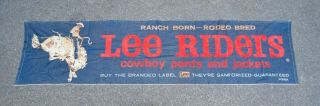 Vintage Rare 1950s Double Selvage Lee Riders Flocked Denim Advertising Banner
