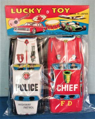 Tin Emergency Cars Police Car & Fire Chief 1960's Japan Import 6 Inches