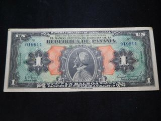 X77 Panama 1941 Balboa Choice Vf Rare Note