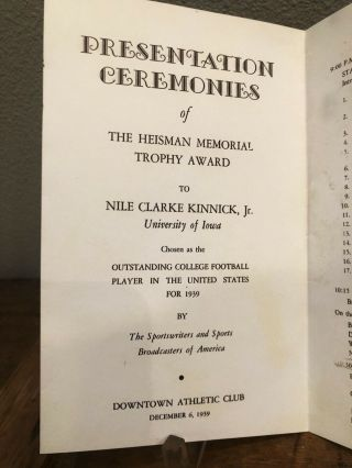 EXTREMELY RARE ORIG.  1939 NILE KINNICK HEISMAN MEMORIAL TROPHY AWARD PROGRAM 4