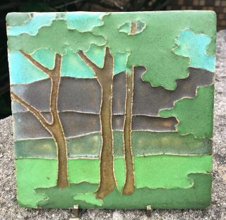 "Rare Van Briggle Pottery 6 "" Landscape Arts And Crafts Tile"
