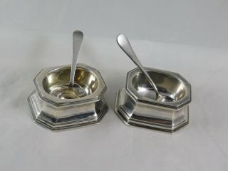 Rare Pair Arts & Crafts Sterling Trencher Salts George C.  Gebelein Boston
