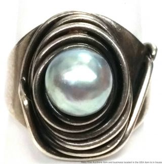Rebajes Antique Arts Crafts Hand Wrought Sterling Silver Cultured Pearl Ring