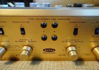 Vintage H.  H.  Scott Type 130 Stereomaster Stereo Tube Pre Amplifier Powers Up