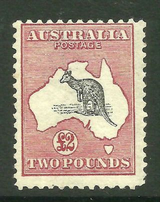 Roos - Rare £2 Black & Rose (1st Watermark) Hinged Acsc 55a (cv $12,  500)