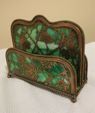 Antique Tiffany Studios Grapevine Pattern Glass Bronze Letter Holder Marked