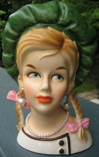 Gorgeous Very Rare Vhtf Teen Head Vase By Lego W.  Green Beret & Braids Headvase