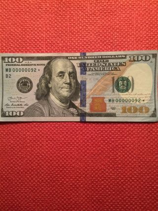 Ultra Rare Off Center Fancy Very Low Serial Number Star $100 Hundred Dollar Bill