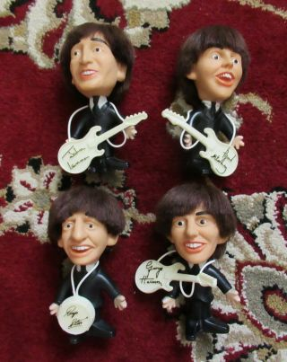 "Beatles 1964 Full Set Of All Four 5 "" Remco Dolls With Rare White Instruments"