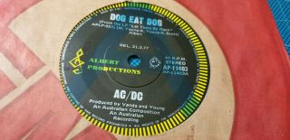 Ac/dc - Dog Eat Dog - Rare - A - Label Promo Single 1977 Alberts