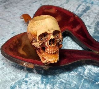 Antique 19thc.  Carved Skull Meerschaum Pipe,  Gothic,  Momento Mori In Case