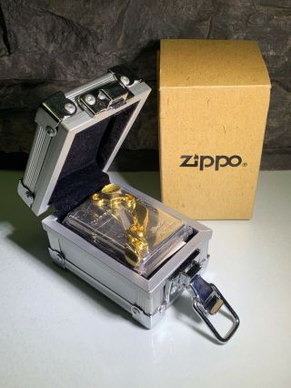 3d Golden Chain Link Zippo - With Flight Case - Ltd Edition - Very Rare - 1998