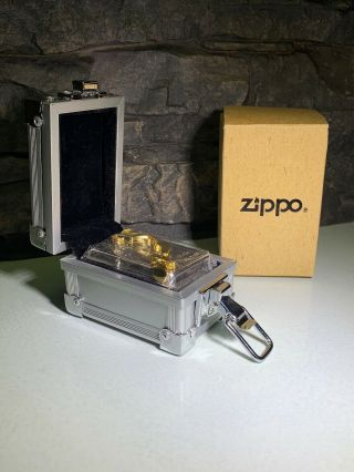 3D GOLDEN CHAIN LINK ZIPPO - WITH FLIGHT CASE - LTD EDITION - VERY RARE - 1998 9