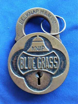 Antique Vintage Belknap - H & M Co - Blue Grass Advertising Lock Padlock W Key