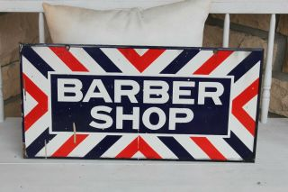 Vintage Double Sided Porcelain Barber Shop Sign - Burdick Chicago