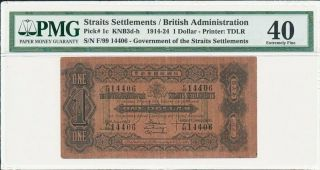 British Administration Straits Settlements $1 1914 - 24 Seems Au,  Rare Pmg 40