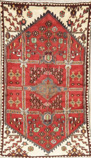 Vintage Geometric Red Malayer Oriental Area Rug Hand - Knotted Tribal Wool 3