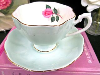 Queen Anne Tea Cup And Saucer Baby Blue Teacup Pink Rose Pattern