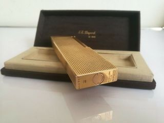 Vintage St Dupont Large Table Lighter Gold Plated Signed - Rare