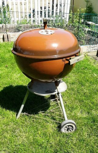 "Vintage 1983 Weber Copper Mist Chocolate Brown 22 "" One - Touch Kettle Grill"