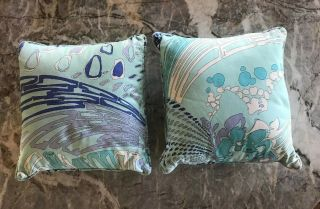 Vintage Emilio Pucci Authentic Made In Italy Abstract Pillows Rare Set Of 2