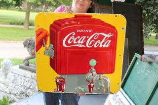 "Vintage 1941 Coca Cola Soda Pop Fountain 2 Sided 26 "" Porcelain Metal Sign"