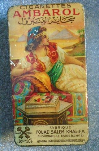 Rare Graphic Ambarol Flat Pocket Egyptian Cigarette Tobacco Tin