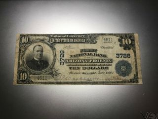 Phoenix,  Arizona 1902 National Bank Note.  Charter 3728.  Rare Second Title Note
