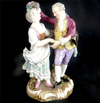 N502 Antique 19th Century Meissen Porcelain Figure Group Lover C75