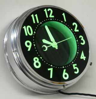 50s Vintage Mini Glo - Dial Electric Neon Clock Light - Up Advertising Old